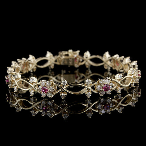14K Yellow Gold Diamond and Ruby Bracelet
