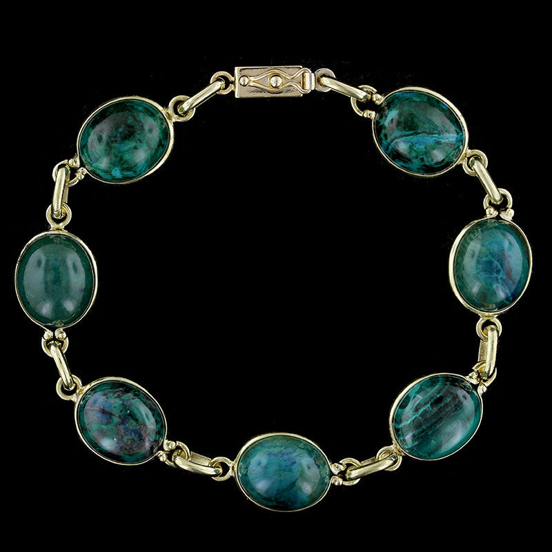 14K Yellow Gold Azurite Malachite Bracelet