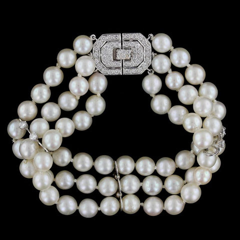 14K White Gold Three Row Pearl and Diamond Bracelet