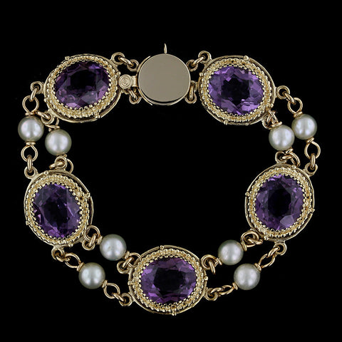 14K Yellow Gold Amethyst and Cultured Pearl Bracelet