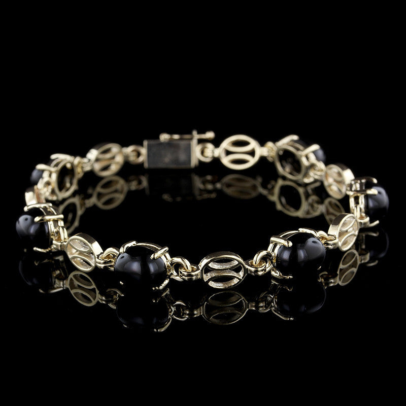 14K Yellow Gold Onyx Bracelet