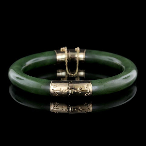 14K Yellow Gold Nephrite Jade Bangle