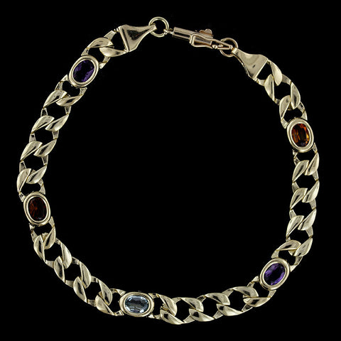 14K Yellow Gold Ruby and Diamond Line Bracelet