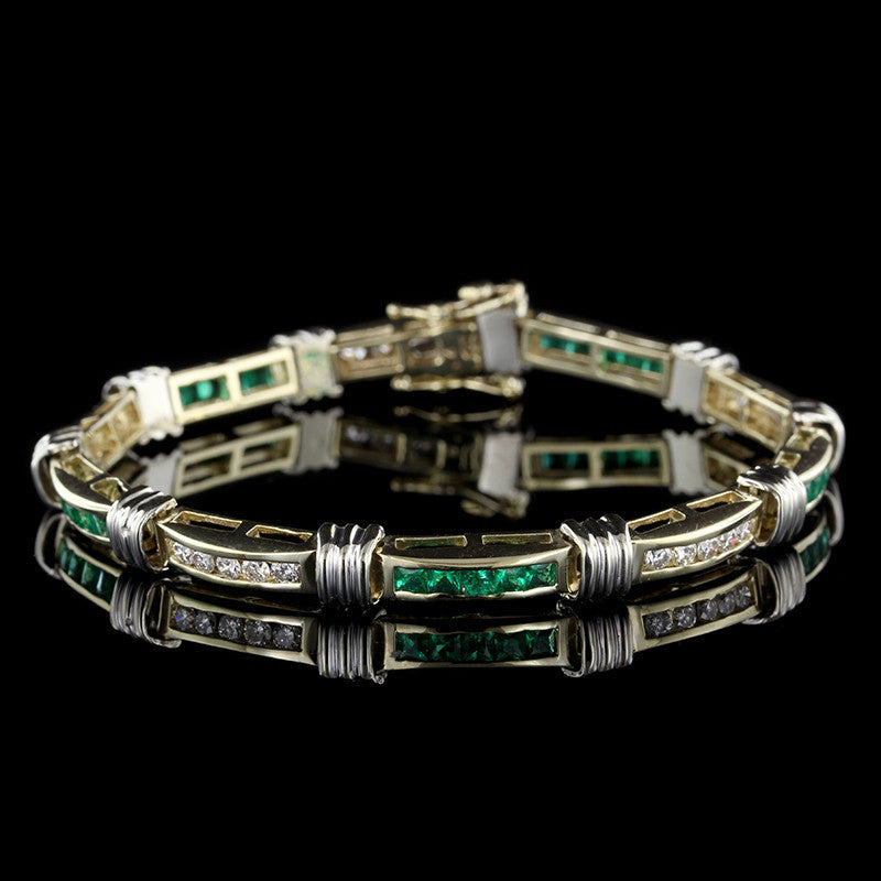 14K Two-tone Gold Emerald and Diamond Bracelet