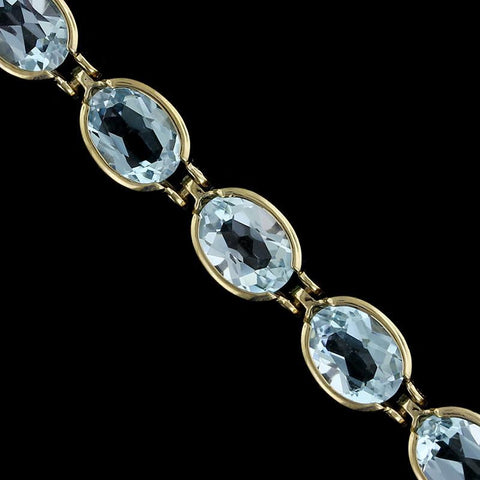 14K Yellow Gold Blue Topaz Bracelet