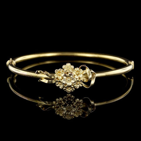 14K Yellow Gold Flower Bangle