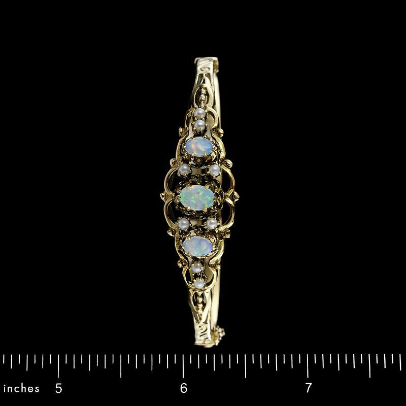 14K Yellow Gold Opal and Pearl Bangle