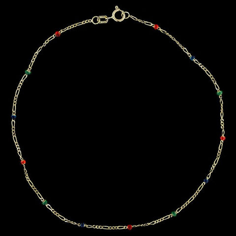 14K Yellow Gold Enamel Bead Anklet