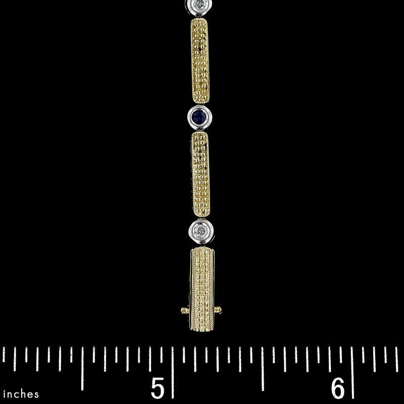 14K Two-Tone Gold Estate Sapphire and Diamond Bracelet