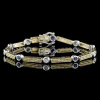14K Two-tone Gold Sapphire and Diamond Bracelet