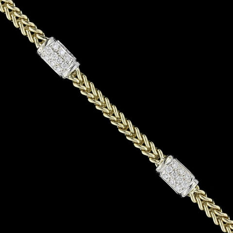 14K Two-Tone Gold Diamond Station Bracelet