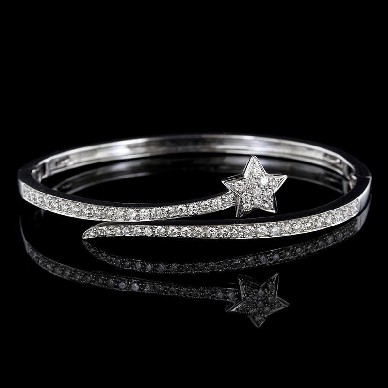 18K White Gold Diamond Shooting Star Bangle