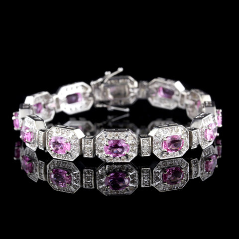 14K White Gold Pink Sapphire and Diamond Bracelet