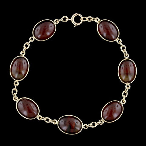 14K Yellow Gold Banded Agate Bracelet