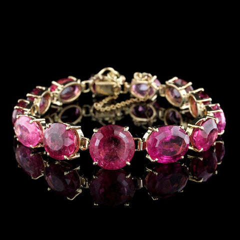 14K Yellow Gold Pink Tourmaline Bracelet