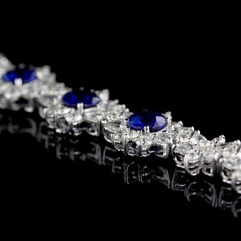 Platinum and 18K White Gold Estate Sapphire and Diamond Flower Bracelet