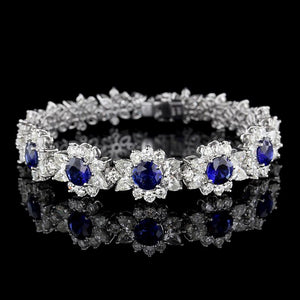 Platinum and 18K White Gold Sapphire and Diamond Flower Bracelet