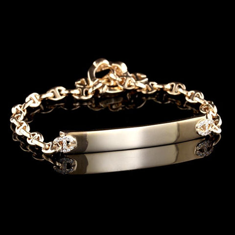 Hoorsenbuhs 18K Rose Gold Diamond ID Bracelet