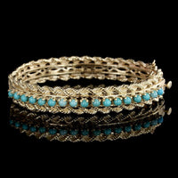 14K Yellow Gold Turquoise Bangle