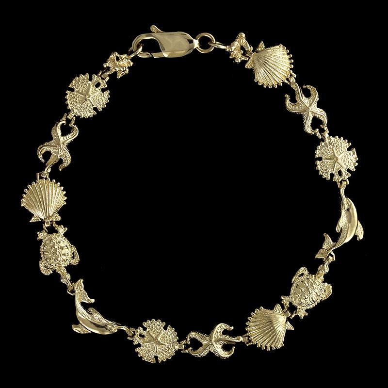 14K Yellow Gold Sea Life Bracelet