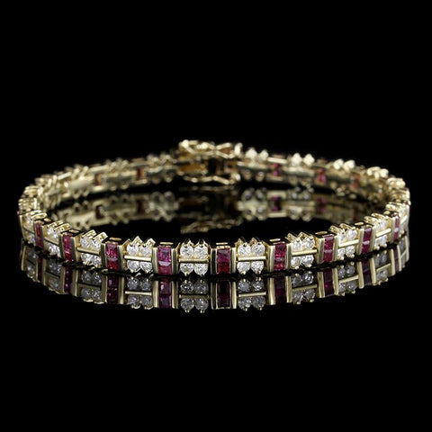 14K Yellow Gold Ruby and Diamond Bracelet