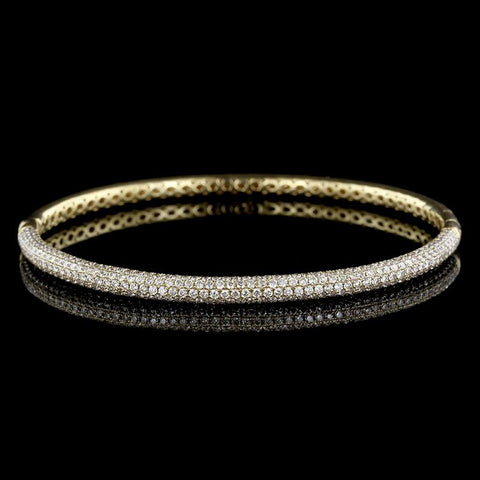 18K Yellow Gold Pave Diamond Bangle