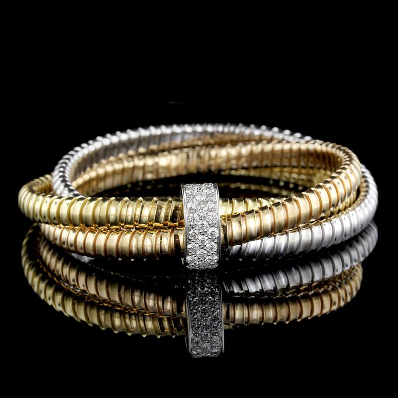 18K Tricolor Gold Interlocking Bracelet with Diamond Slide