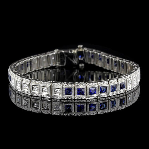 Vintage Platinum, 14K White Gold Synthetic Sapphire and Diamond Bracelet