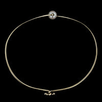 Tom Kruskal 14K Yellow Gold Cultured Pearl Curved Bangle