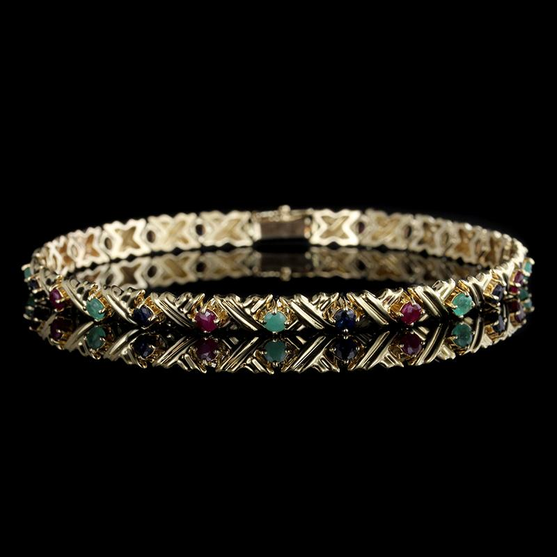 14K Yellow Gold Emerald, Ruby and Sapphire Bracelet
