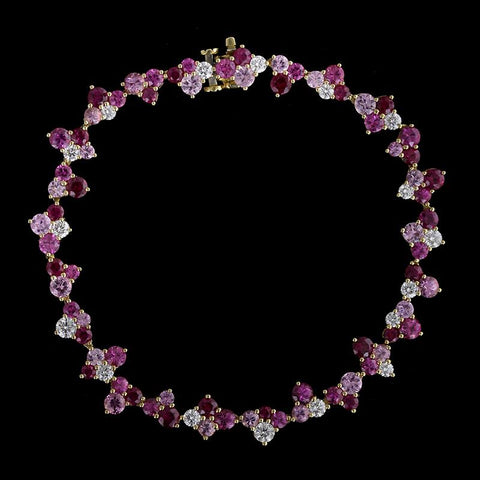Mark Patterson 18K Yellow Gold Ruby, Pink Sapphire and Diamond Samba Bracelet