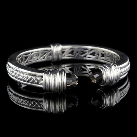 Scott Kay Sterling Silver Basketweave Smoky Quartz Bracelet