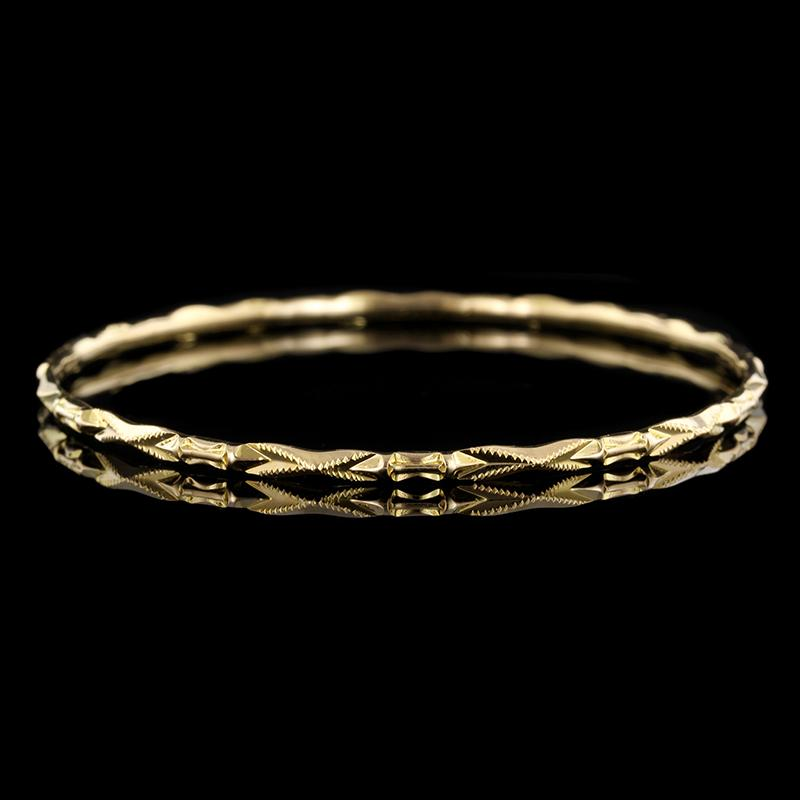 18K Yellow Gold Fancy Bangle