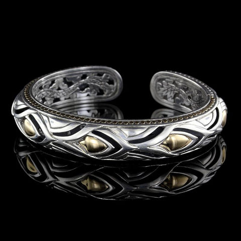 John Hardy Sterling Silver and 18K Yellow Gold Naga Slim Kick Cuff