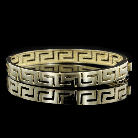14K Yellow Gold Greek Key Bangle