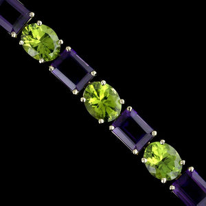 14K Yellow Gold Amethyst and Peridot Bracelet