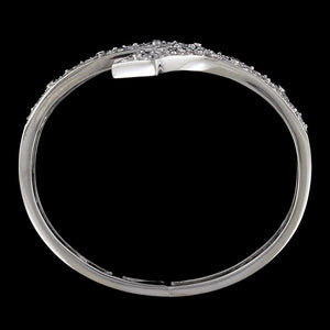 14K White Gold Estate Diamond Bypass Bangle Bracelet