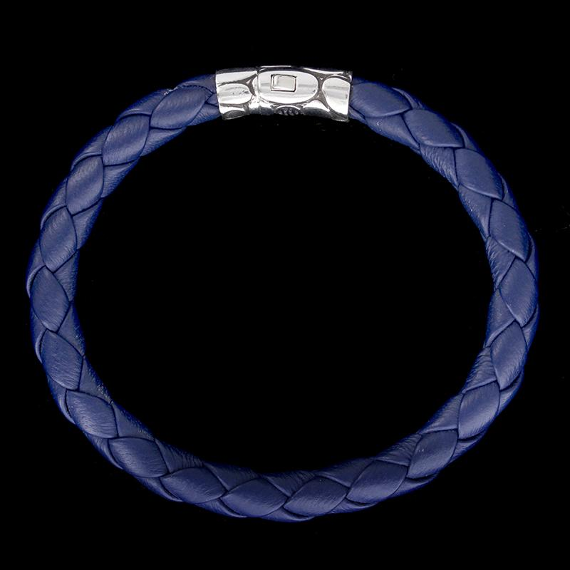 John Hardy Sterling Silver Kali Blue Woven Leather Bracelet