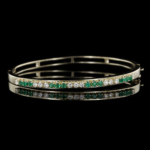 14K Yellow Gold Emerald and Diamond Bangle