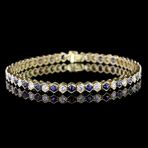 Tiffany & Co. 18K Yellow Gold Sapphire and Diamond Bracelet