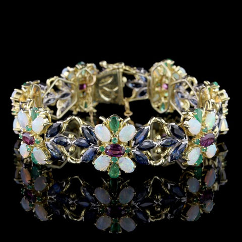 18K Two-Tone Gold Gem-Set Bracelet