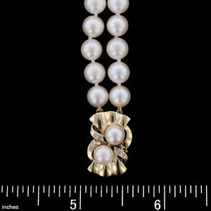 14K Yellow Gold Estate Cultured Pearl Bracelet