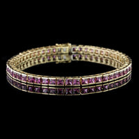 18K Yellow Gold Estate Garnet Bracelet
