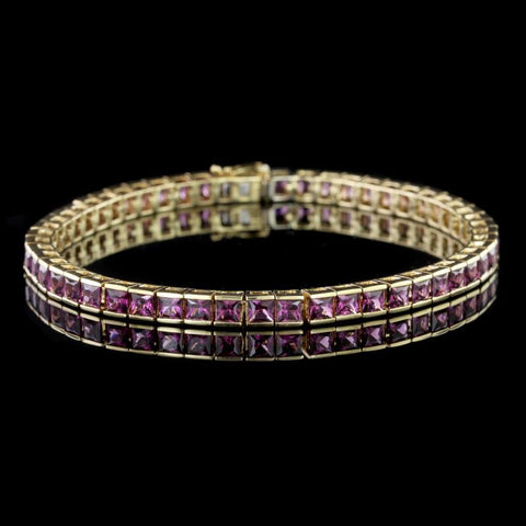 18K Yellow Gold Garnet Bracelet