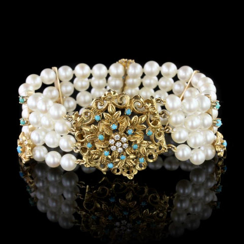 18K Yellow Gold Cultured Pearl, Turquoise and Diamond Bracelet