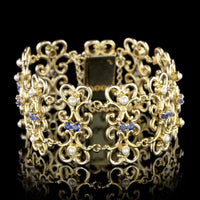 14K Yellow Gold Estate Sapphire and Cultured Pearl Bracelet