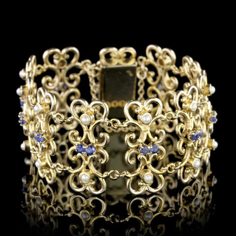 14K Yellow Gold Sapphire and Pearl Bracelet