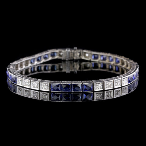 Art Deco 14K White Gold Synthetic Sapphire and Diamond Bracelet