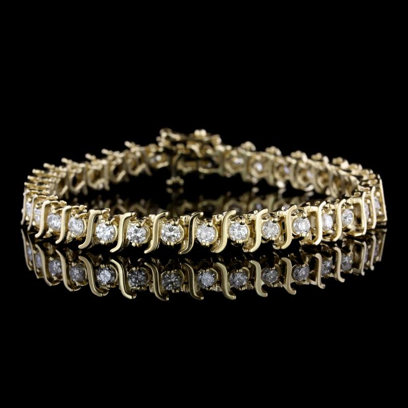 14K Yellow Gold Estate Tennis Bracelet