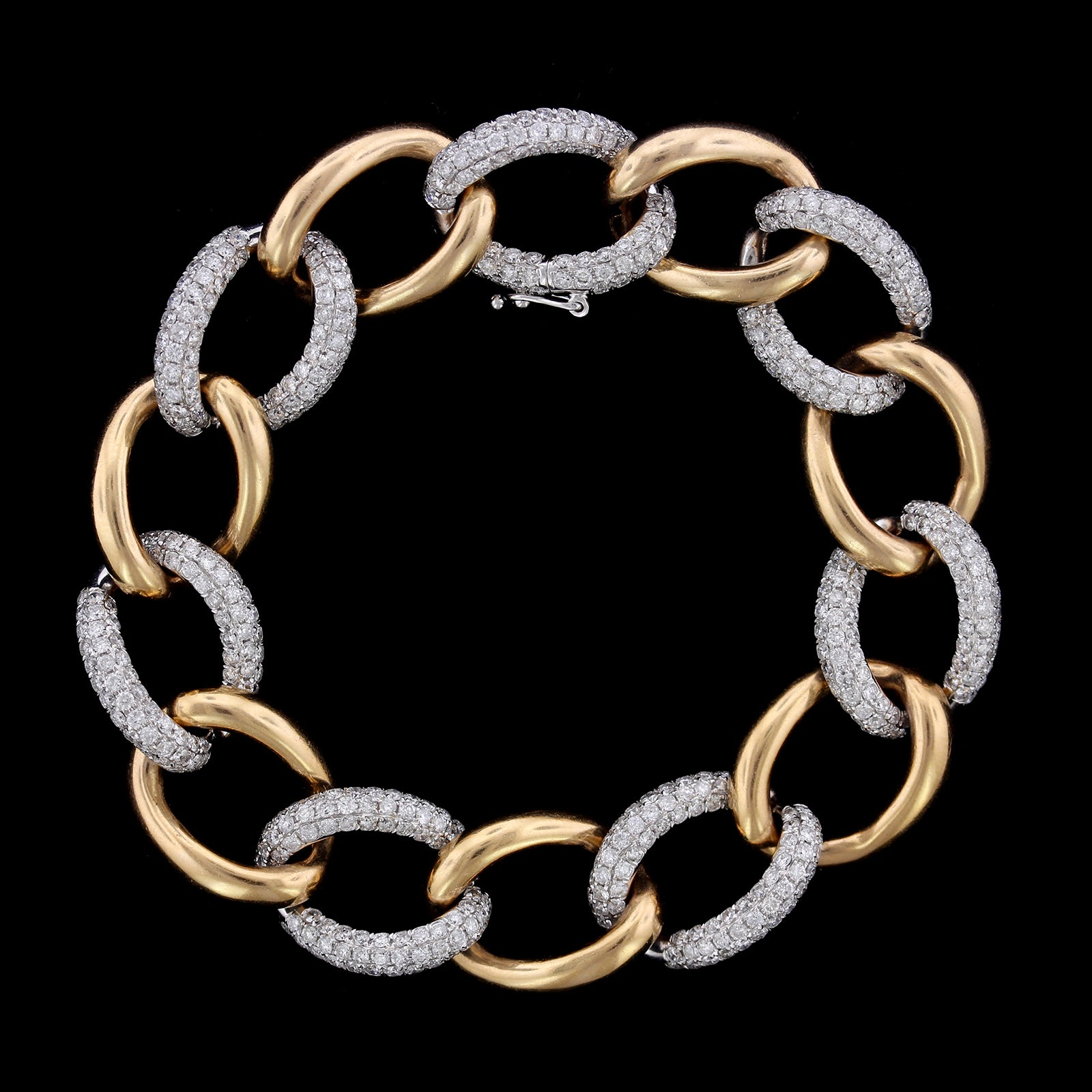 18K Rose Gold and White Gold Estate Diamond Link Bracelet